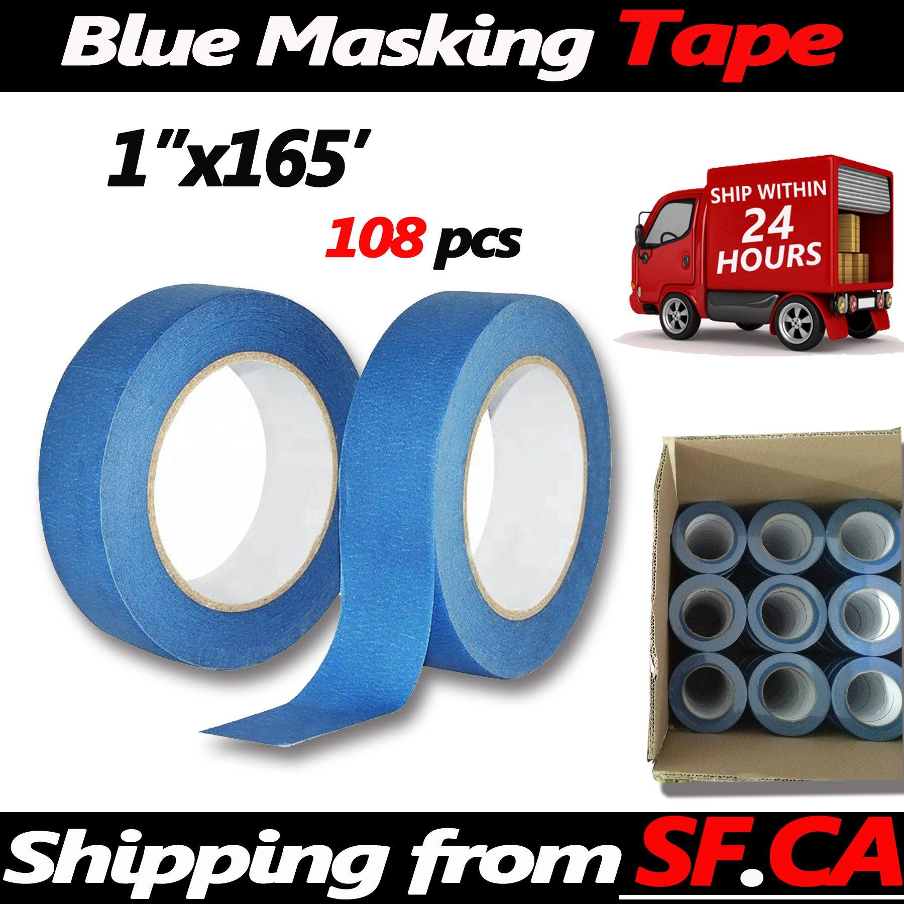 Blue Painters Tape Clean Release Trim Edge Finishing Masking Tape (1''x165',108 Rolls)