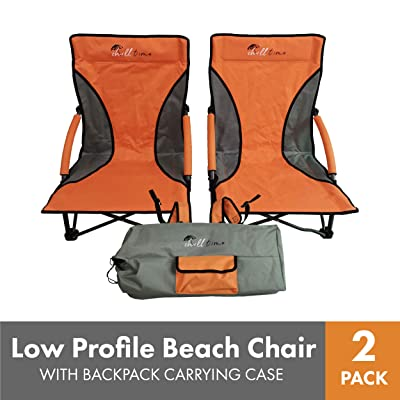 Chill Time RPBC2P Low Profile Beach Chair 2 Pack with Backpack Carrying CASE, Orange/Grey : Garden & Outdoor