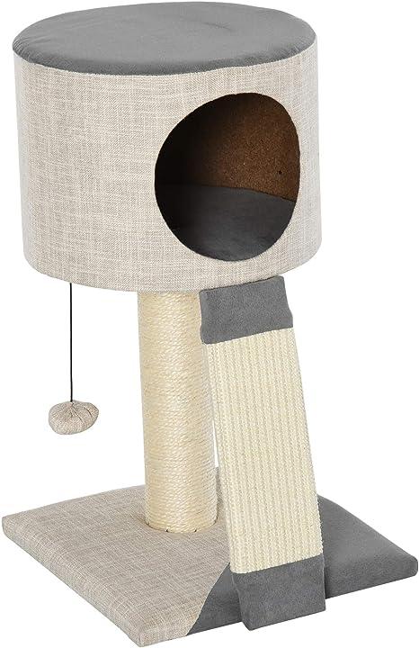 Pawhut Árbol rascador para gatos, árbol de escalada para gatos, caja con pelota de gato, color gris, 30 x 30 x 50 cm