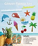 Glitzer Tattoo Sommer Set mit Profikleber, 1x Pinsel, 5x Glitzer, 9x Tattooschablone