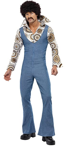 70s Costumes: Disco Costumes, Hippie Outfits Smiffys Mens Groovy Dancer Costume Jumpsuit with Attached Mock Shirt $39.51 AT vintagedancer.com