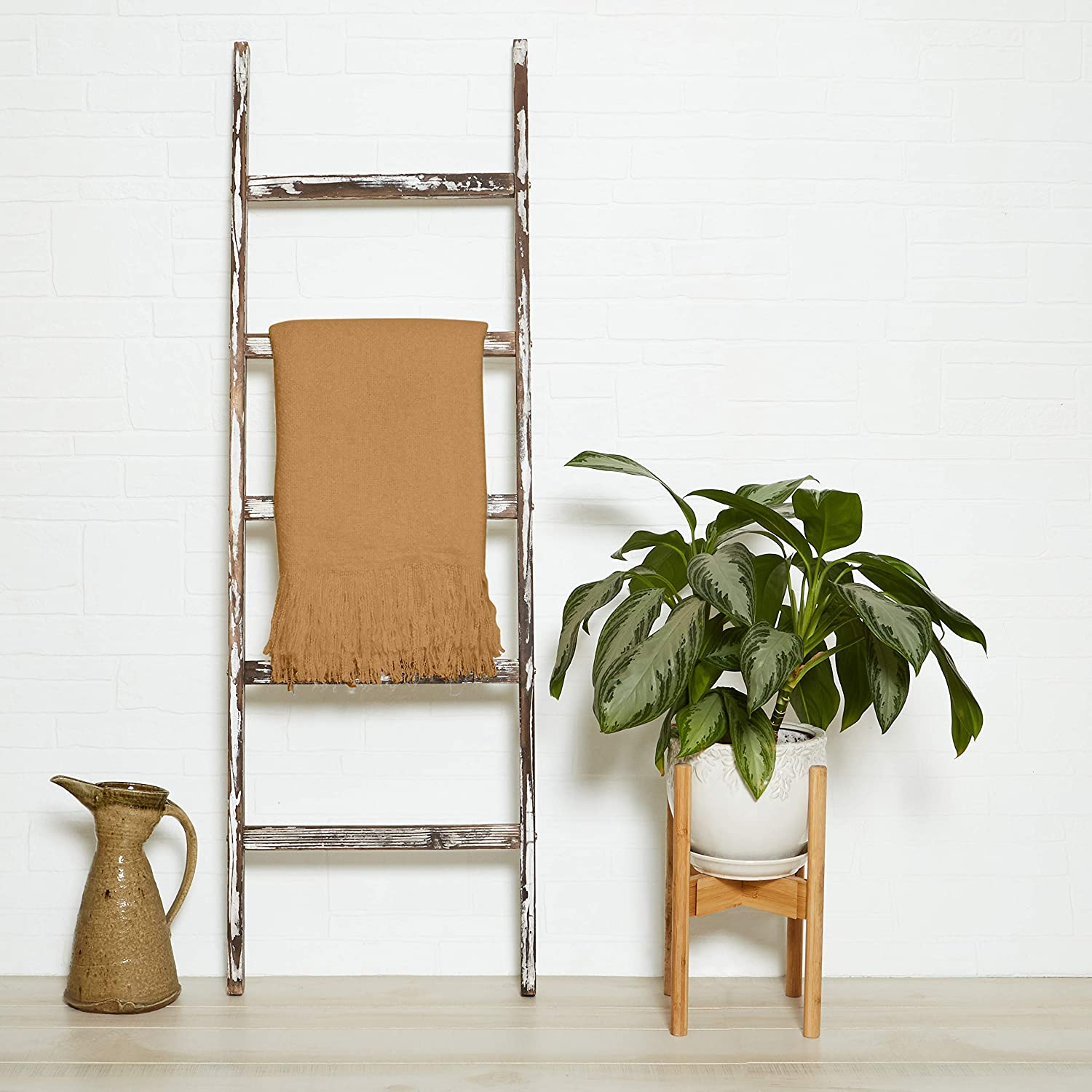 5 ft Rustic Farmhouse Blanket Ladder – Decorative Wooden Display Wall Leaning Wood Farm Decor Rack for Throw Towel Quilt & Blankets Holder Display Shelf - Old Antique White Wall Ladders House Decorati