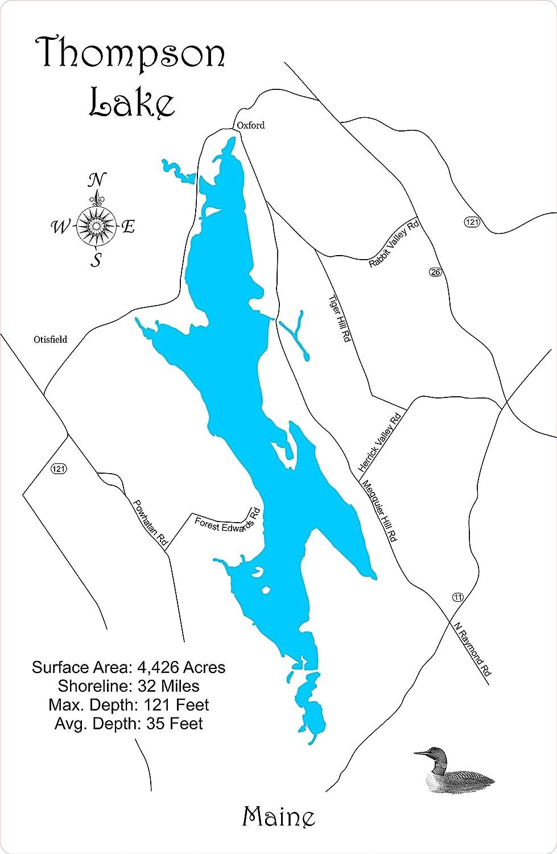 Amazon.com: Thompson Lake, Maine: Standout Wood Map Wall ...