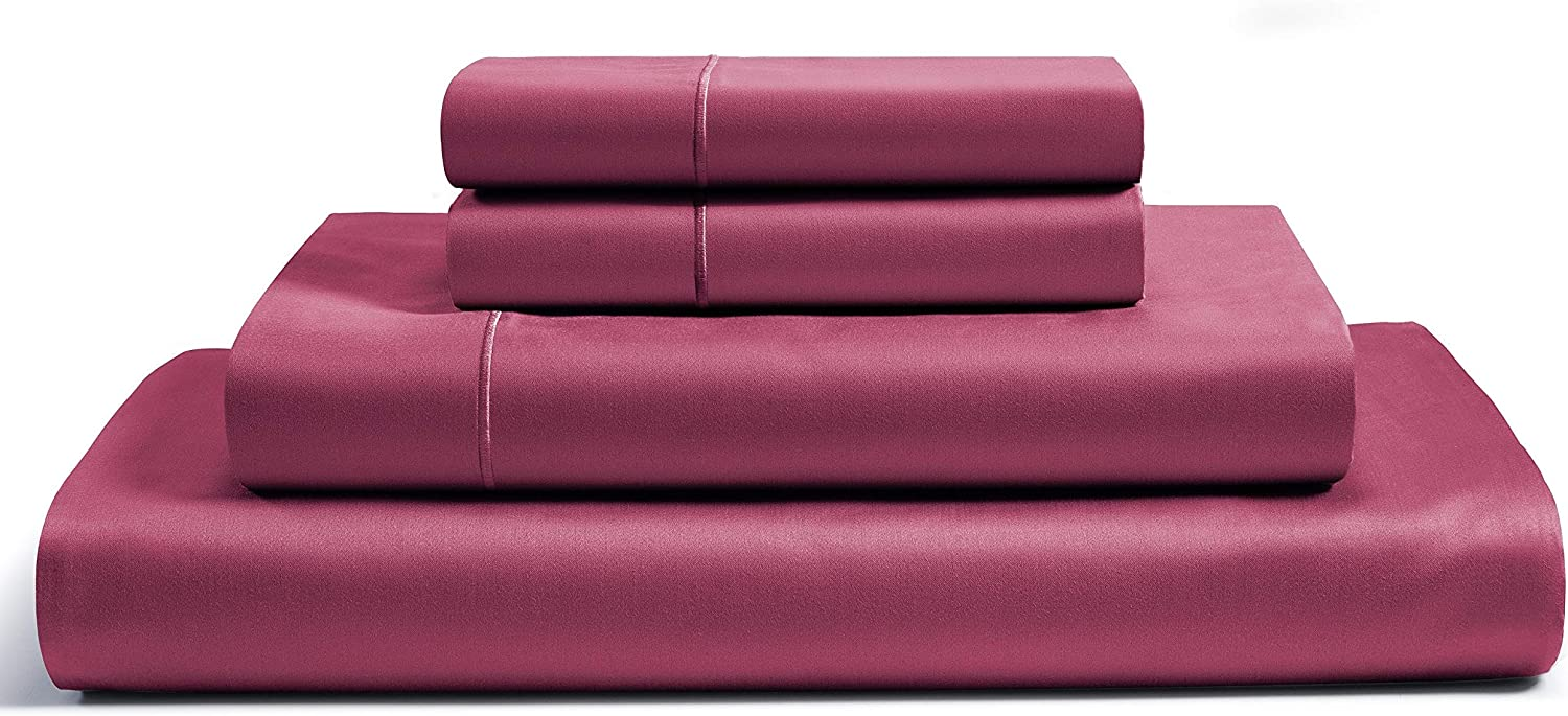 Amazon Com Chateau Home Collection 100 Egyptian Cotton Sheets Queen Size 800 Thread Count Burgundy 4 Piece Sheet Set Solid Sateen Weave 16 Deep Pocket Fits Upto 18 Mattress Long Staple Cotton Bedsheet