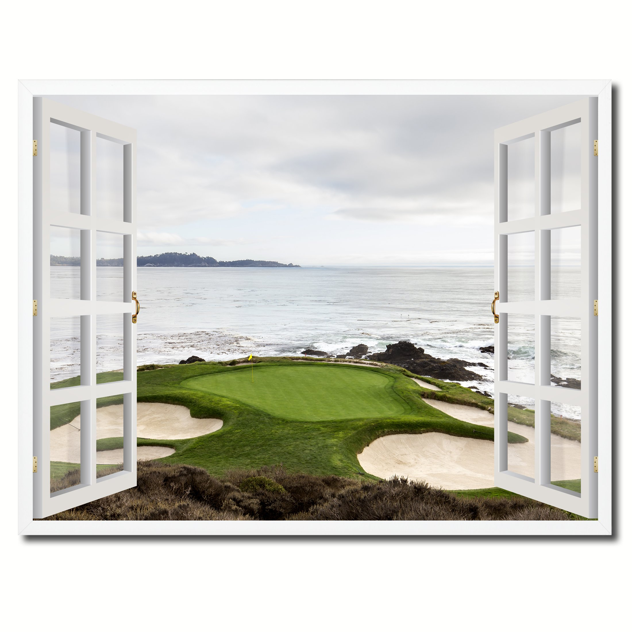 Pebble Beach California Golf Course Picture French Window Art Framed Print on Canvas Office Wall Home Decor Collection Gift Ideas, 7''x9''