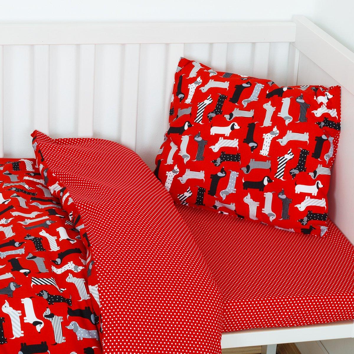 Toddler Duvet Cover Pillowcase Bedding Set Dogs 100% cotton 90*135cm Boy Girl mayabee