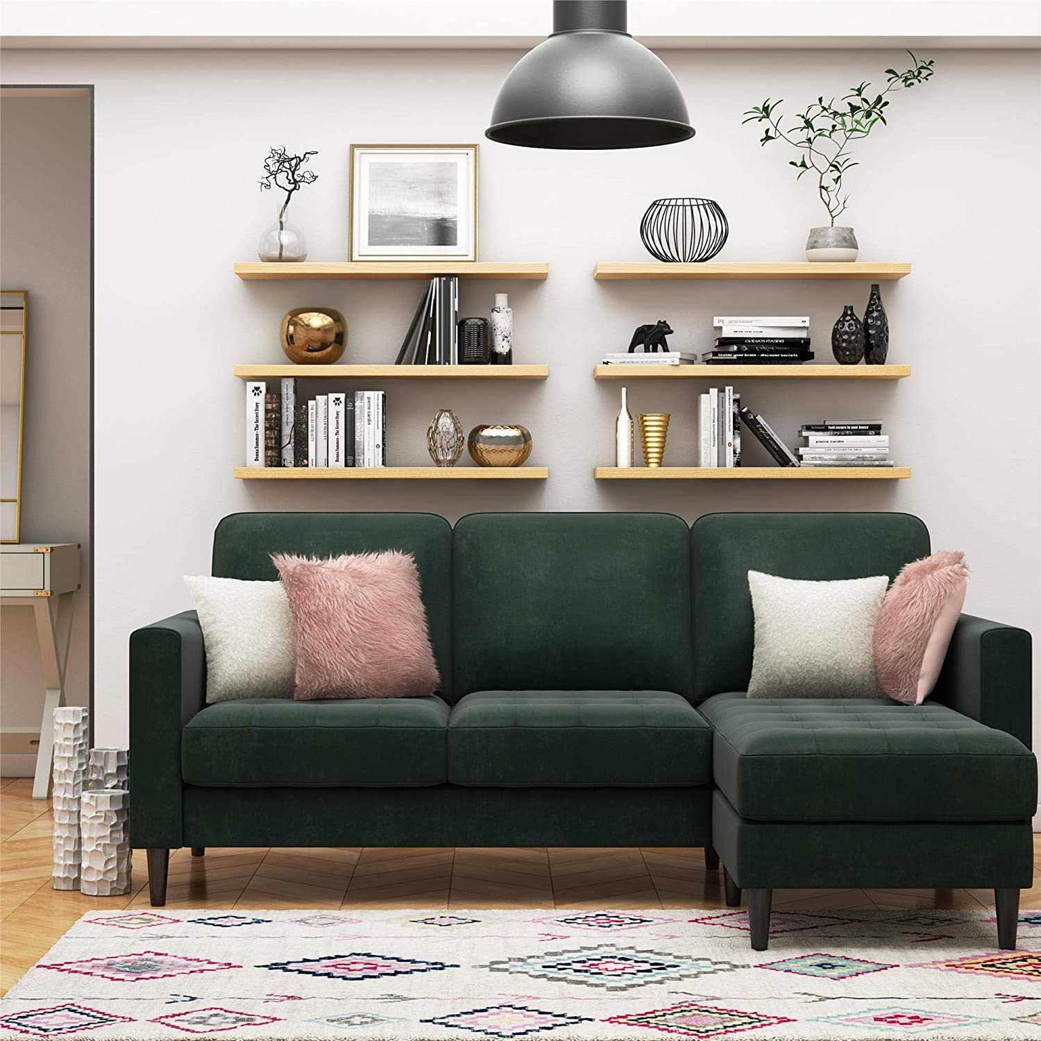 Amazon Com Cosmoliving Strummer Modern Reversible Sectional Couch Upholstered In Green Velvet Fabric With Floating Ottoman Furniture Decor