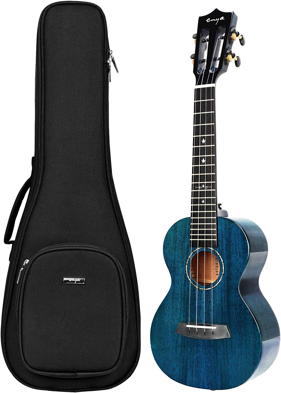 Enya EUT-MAD Tenor Ukulele Solid Gloss Mahogany 26 Inch Wiping Blue with High-end 15mm Padded Gig Bag