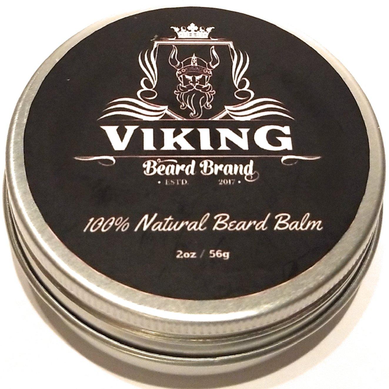 Beard Balm – Organic 100% All Natural Beard Conditioner, Bees Wax, Jojoba Oil, Argan Oil, Mango Butter, Style, Moisturize & Soften Beard or Mustache During Growth, Citrus Fragrance for Men - 2oz Viking Beard Brand