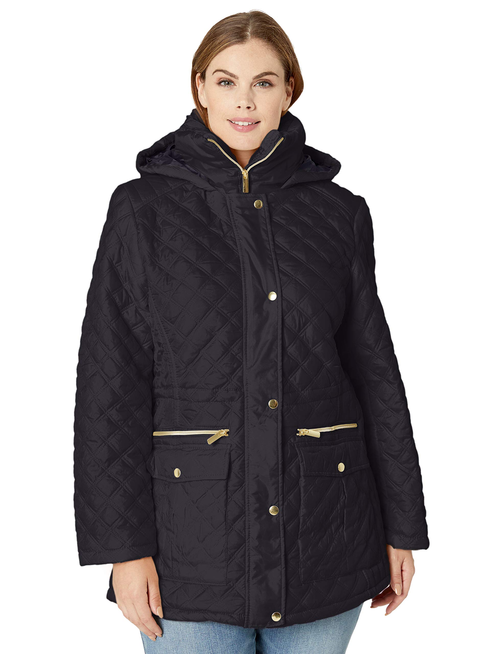 Big Chill Women's Plus Size Diamond Quilted Anorak Jacket, Black, 3X by Big Chill