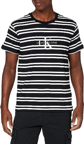Calvin Klein Striped CK Center Logo tee Camisa para Hombre: Amazon.es: Ropa y accesorios