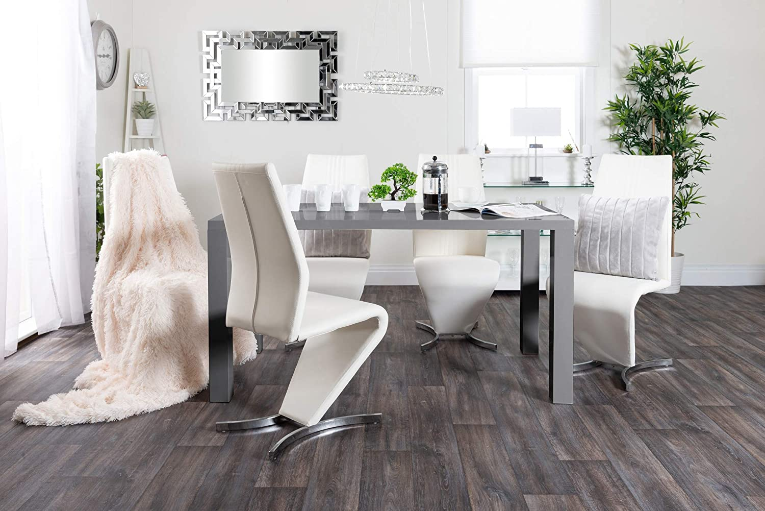 Dining Table + 6 Cappuccino Grey Willow Chairs Furniturebox UK Pivero Grey High Gloss Contemporary Stylish Rectangular Large Dining Table And 6 Premium Willow Chairs Set