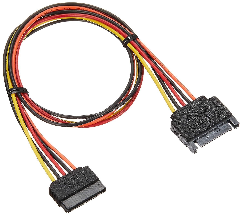 変換名人 ペリフェラル(大4ピン) → SATA電源(15ピン?ロック付)×2分岐ケーブル 4P-SPR/2