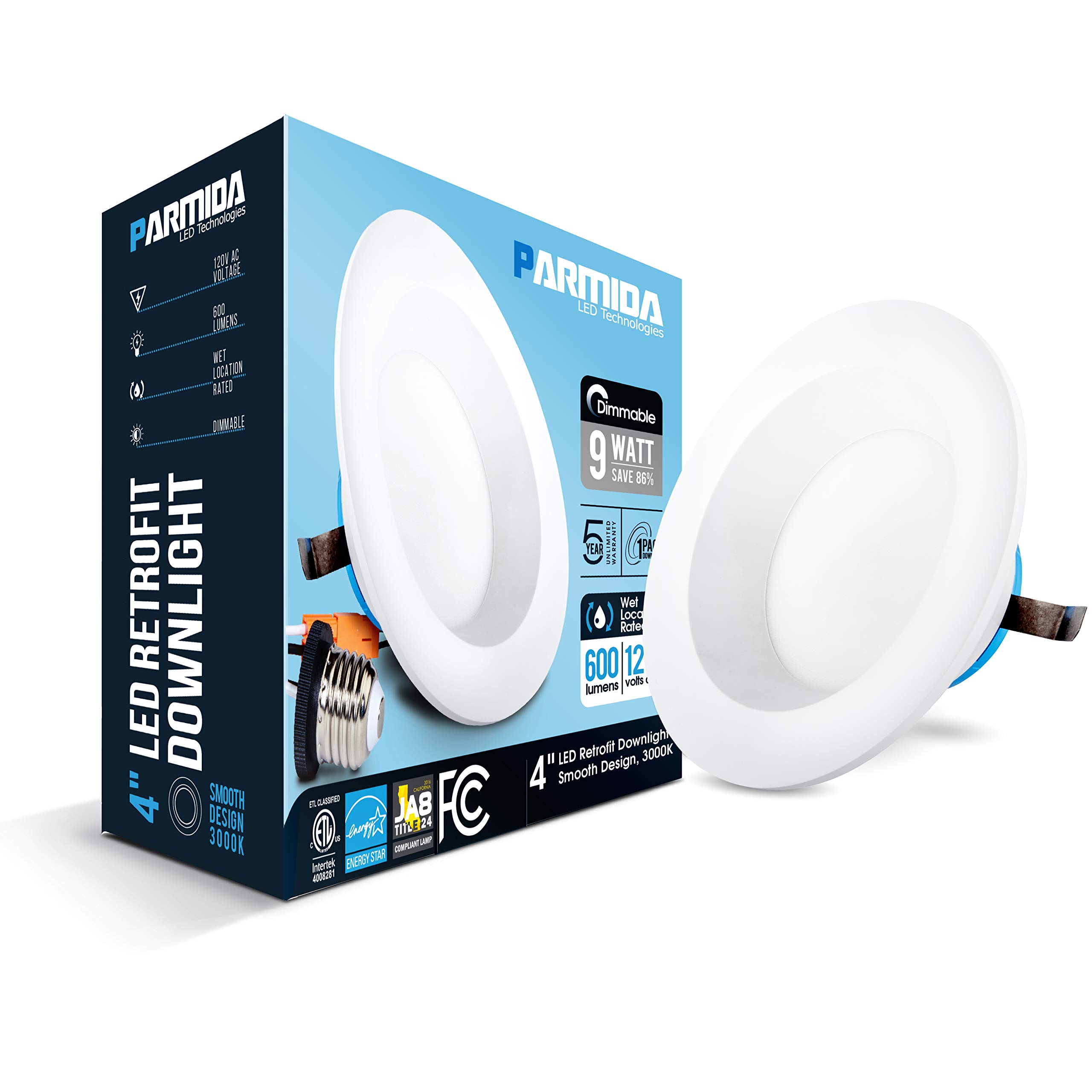 Parmida (4 Pack) 4 inch Dimmable LED Retrofit Recessed Downlight, 9W (65W Replacement), Smooth Design, 600lm, 3000K (Soft White), Energy Star & ETL, LED Ceiling Can Light, LED Trim