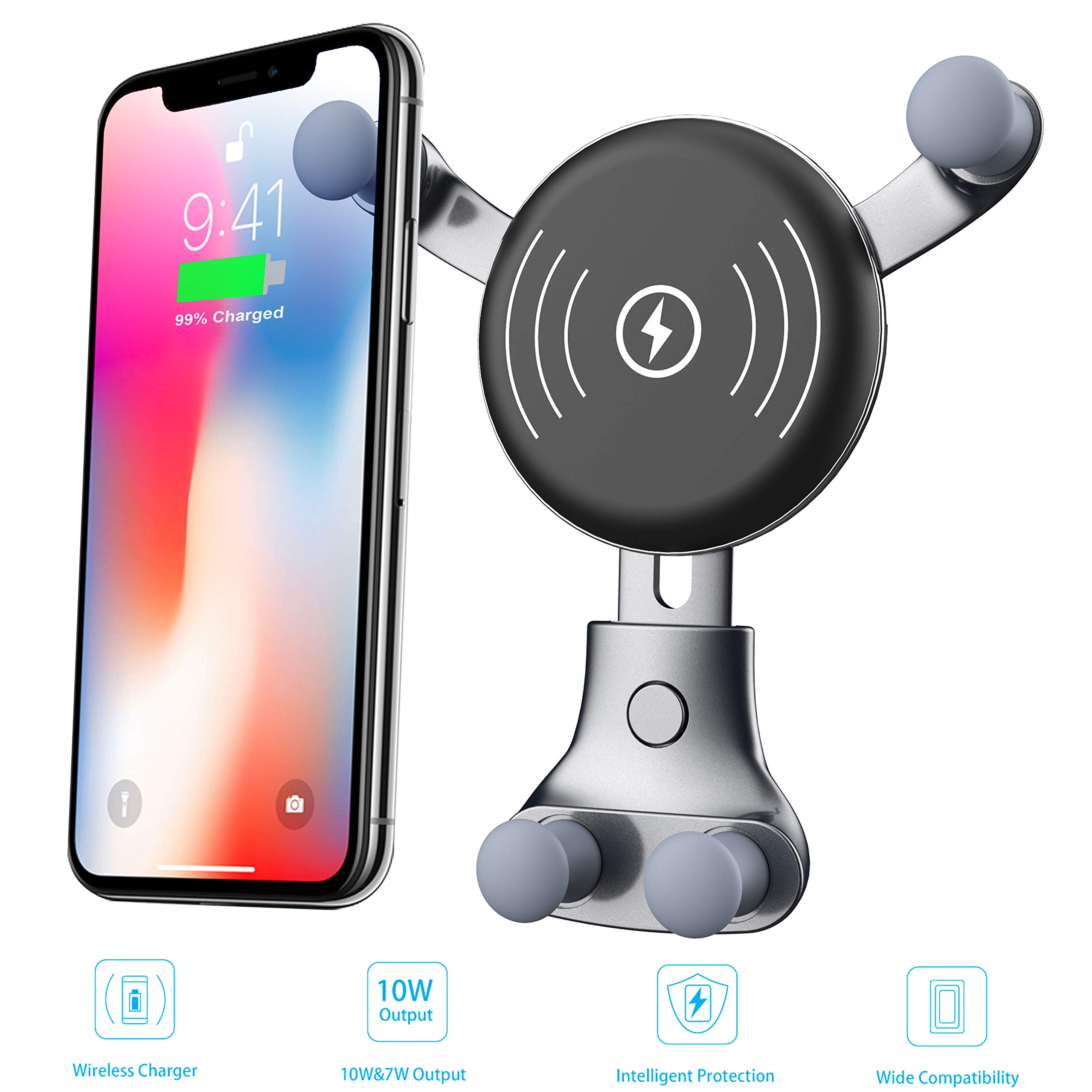 [2019 Upgraded] Wireless Car Charger, Air Vent Phone Holder, Car Cradle Mount, 10W Compatible for Samsung Galaxy S9/S9+/S8/S8+/S10/S10+/Note 8/9, 7.5W Compatible for iPhone Xs Max/Xs/XR/X/8/8+