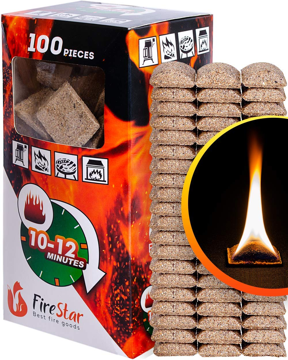 Fire Starter Squares - 100pc fire starters for fireplace - Camping fire lighter - Grill charcoal starter cubes - Firestarters for campfires | fireplace | fire pit burns 10-12 min by FireStar
