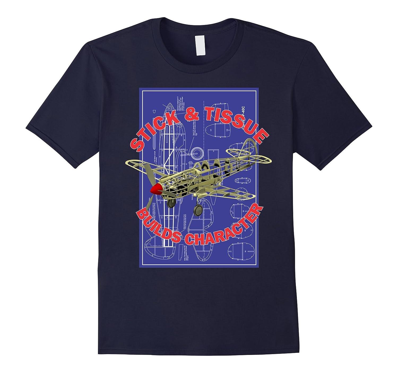 Stick & Tissue Builds Character - Model Plane Hobby T Shirt-BN
