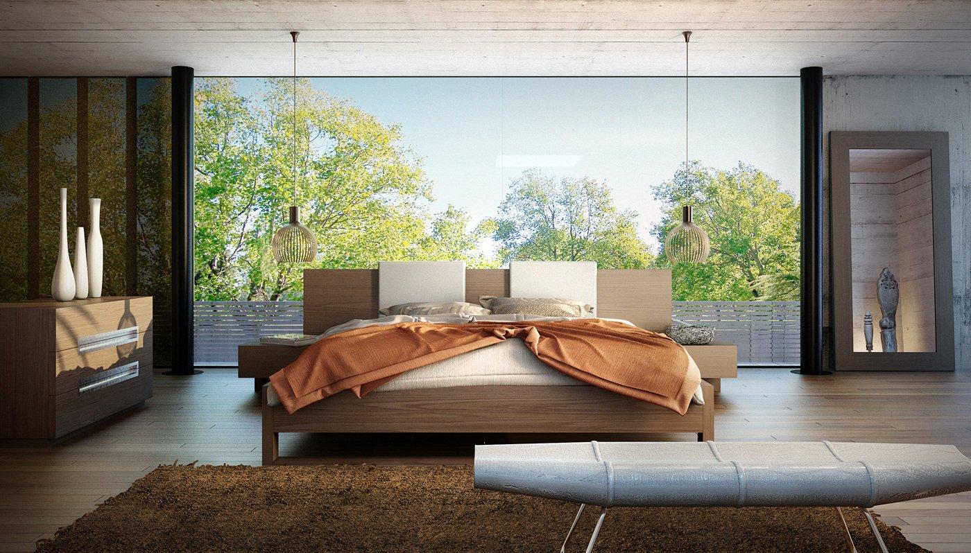 Amazon com modloft monroe modern 5 piece platform bedroom set in walnut california king kitchen dining