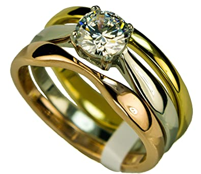 Amazoncom Three tone 3 band Wedding Ring Set 2 Carat Russian