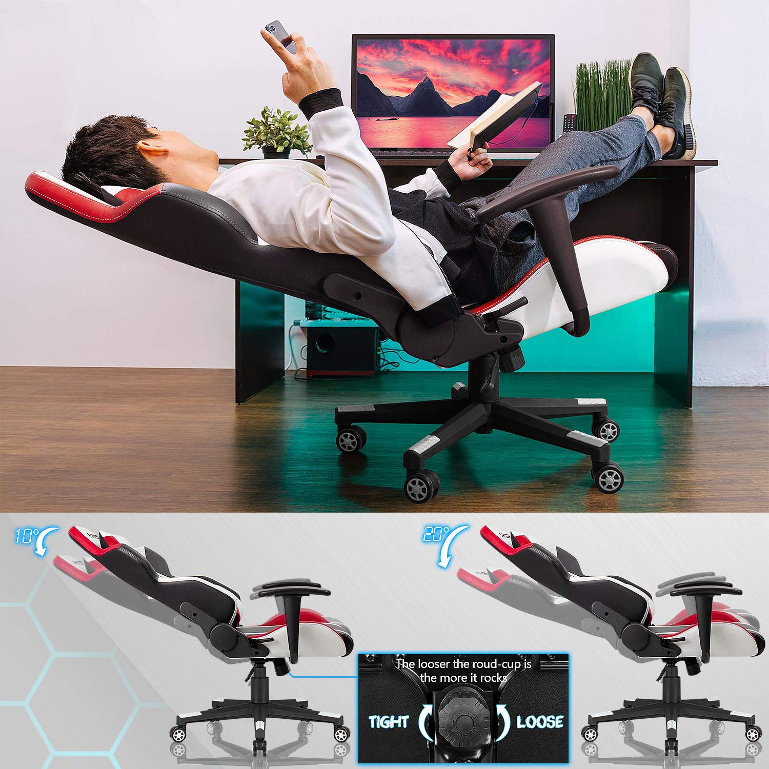 Homall Gaming Chair Racing Style High-Back PU Leather Office Chair Computer Desk Chair Executive and Ergonomic Swivel Chair with Headrest and Lumbar Support (White/Red) by Homall (Image #4)