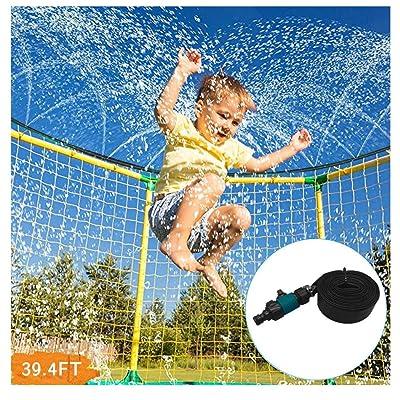 Xchenda Trampoline Sprinkler - 12m Sprinkler Hose Trampoline Water Park Sprinkler Best Outdoor Summer Fun Toys for Hot Summer Swimming Outside Water Spray Sprinkler Hose for Kids (Black): Garden & Outdoor