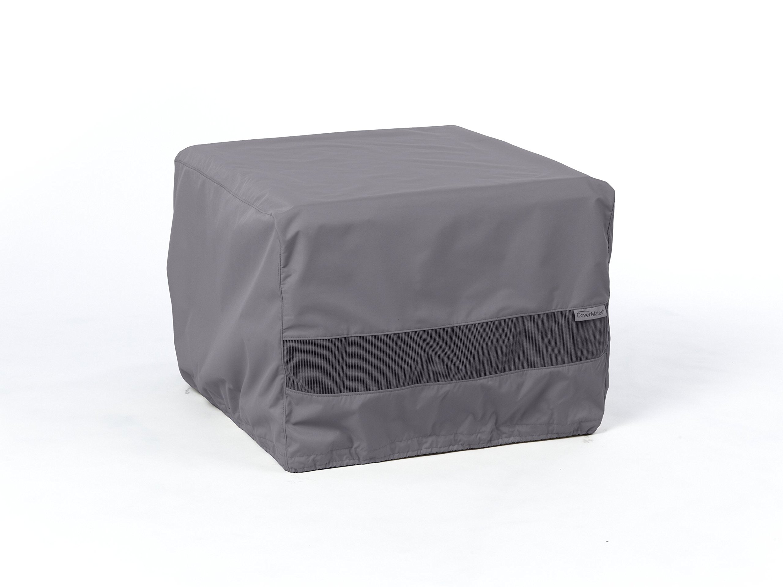Covermates - Square Ottoman Cover - 18W x 18D x 18H - Elite - 300D Stock-Dyed Polyester - Double Stitched Seams - Buckle Straps - 3 YR Warranty - Weather Resistant - Charcoal by Covermates
