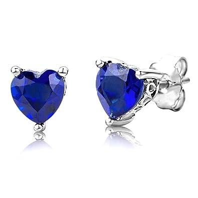 ByJoy Earrings for Women Sterling Silver Studs earrings Blue Sapphire 925 Silver 5hGRBZ