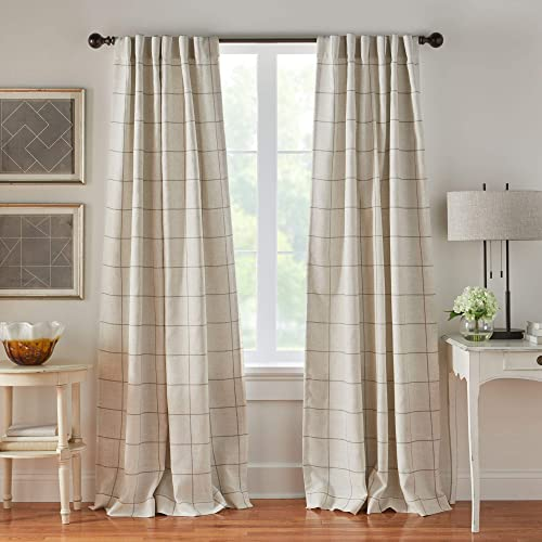 Elrene Home Fashions Brighton Windowpane Plaid Grid Blackout Window Curtain Panels/Drapes