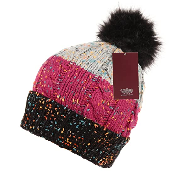 797def378d7 ANGELA   WILLIAM BN2379 Three Tone Crochet Knit Slouchy Pompom Beanie Beret  Winter Ski Hat (