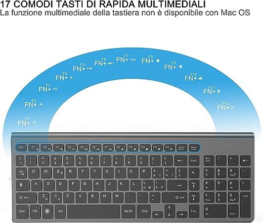 JOYACCESS Teclado inalámbrico ratón, tamaño completo Tranquilla Slim teclado numérico ergonómico para PC, escritorio, ordenador, portátil, Windows ...