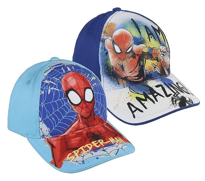 Pack 2 gorras de tela adaptables 2 diseños diferentes Spiderman ...