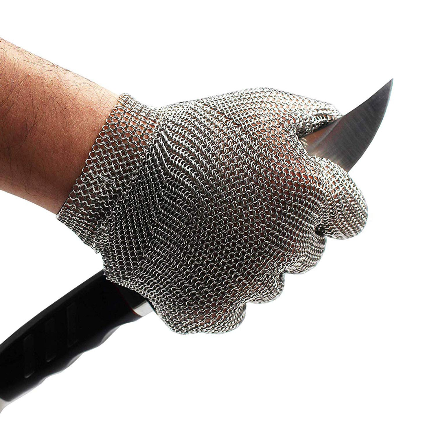 Schwer Stainless Steel Metal Mesh Chainmail Cut Resistant Glove for Food Handling, Meat Cutting Butchers Slicing Chopping Restaurant Work Safety(M) by Schwer (Image #1)