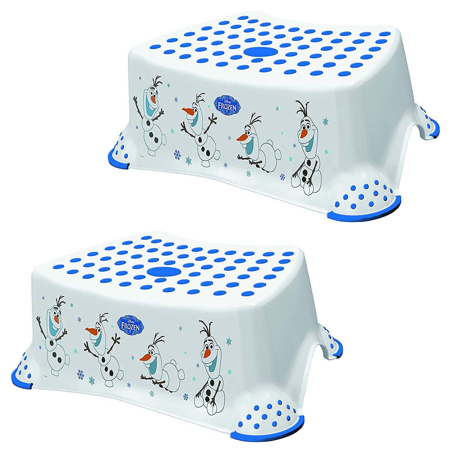 Disney Frozen Olaf Baby Child & Toddler Step Stool TWO PACK 14cm/5.5 White/Purple Strong Plastic 100kg Capacity Non Slip/Skid Safety Rubber Surface & Feet for Toilet/Potty Training Lightweight Portable