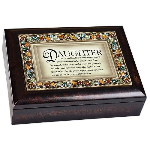 Perfect Daughter Italian Style Bronze Wood Finish Decorative Jewel Lid Musical Jewelry Box