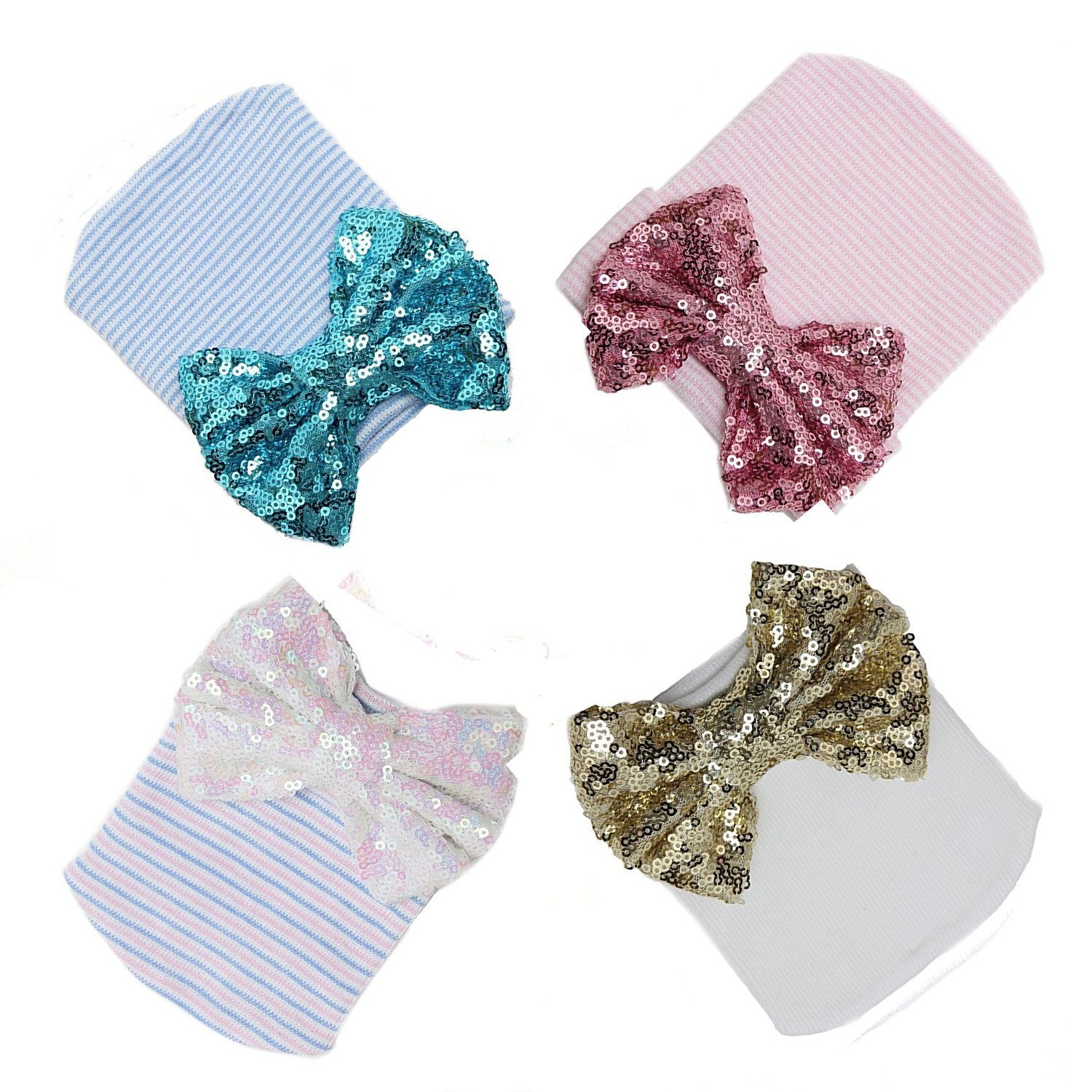 4 colors Ademoo Baby Girls Newborn Hospital Hat with Sequin Bow