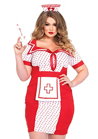 99ee1bac2b22b Leg Avenue Women's Plus-Size 2 Piece Bedside Betty Costume, Red/White,
