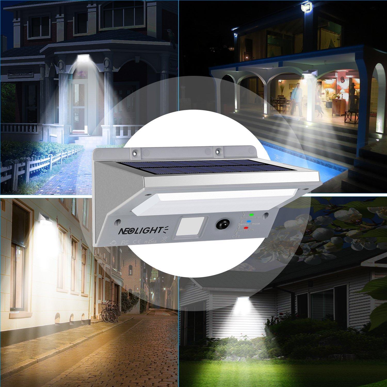 Lámparas Solares, Lampara led exterior Luce Solares con Sensor de Movimiento 21 LED Impermeable IP65 3 Modos Acero Inoxidable Luz Solar Exterior para ...
