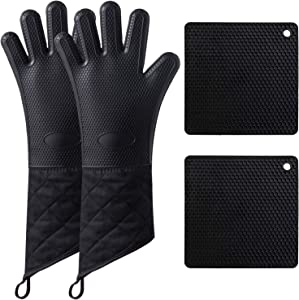 Camkuzon Silicone Oven Mitts and Pot Holders 4-Piece Sets, Extra Long Heat Resistant Oven Gloves Non-Slip Food Grade Kitchen Mitt and Hot Pads for Baking, Cooking, BBQ