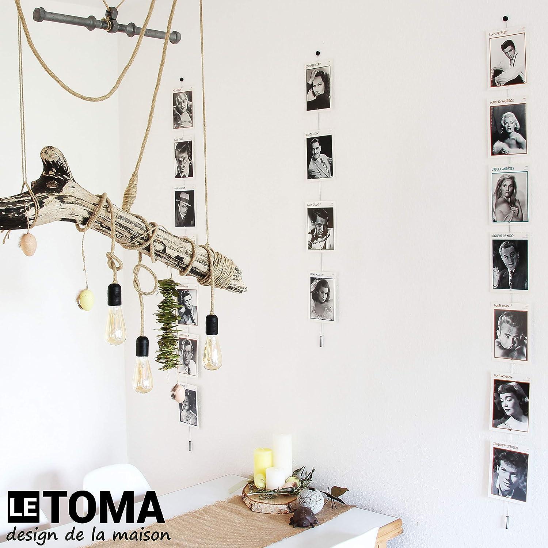 C/âble-Photo magn/étique Corde /à Photos en Acier de 100 cm de Long avec 10 aimants en n/éodyme Fort LeTOMA Fil-Photo magn/étique Murale