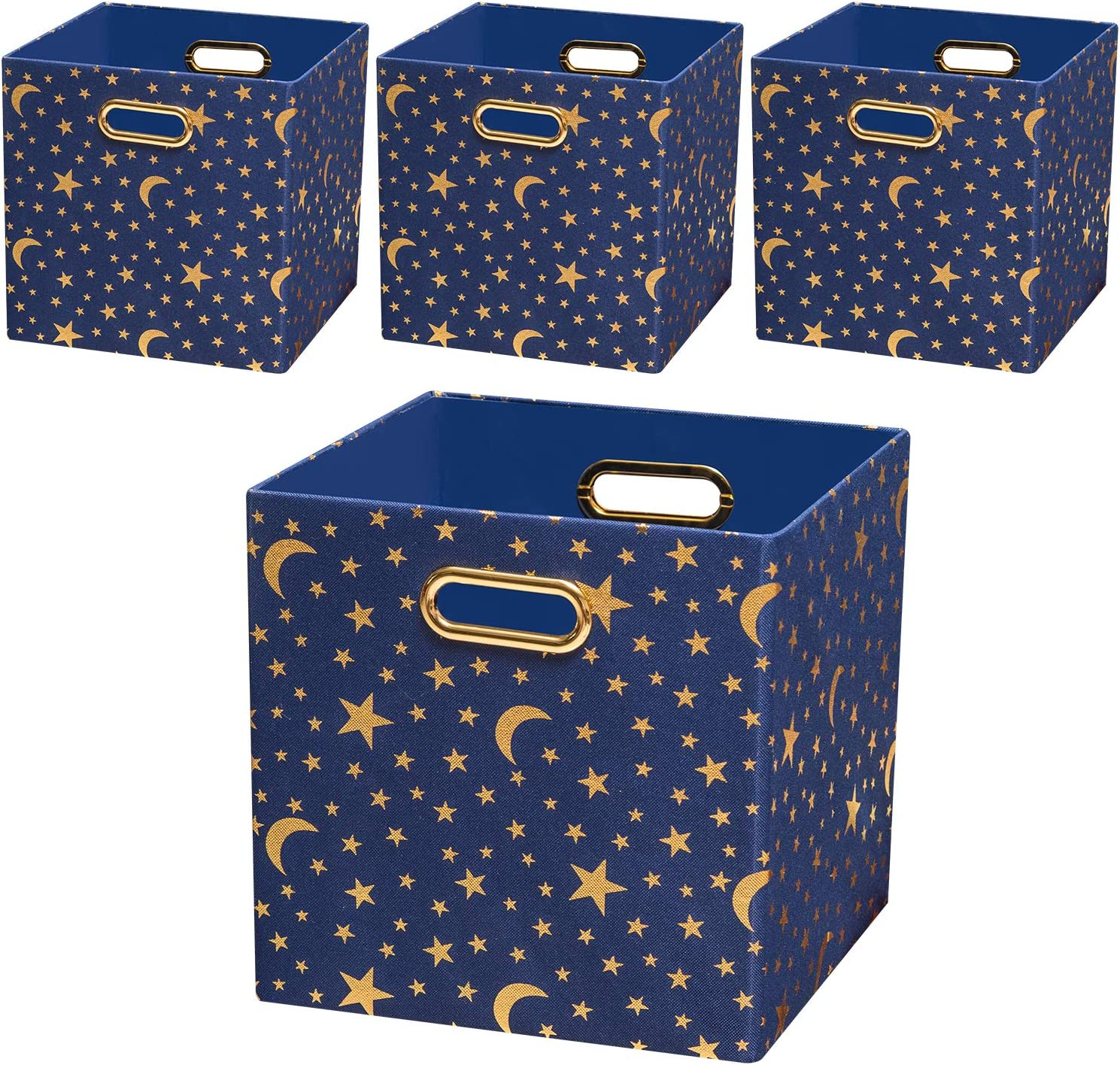 Posprica Storage Cubes,11×11 Storage Bins Boxes Basket Containers Drawers for Nurseries,Kid's Toys (Set of 4, Stars)