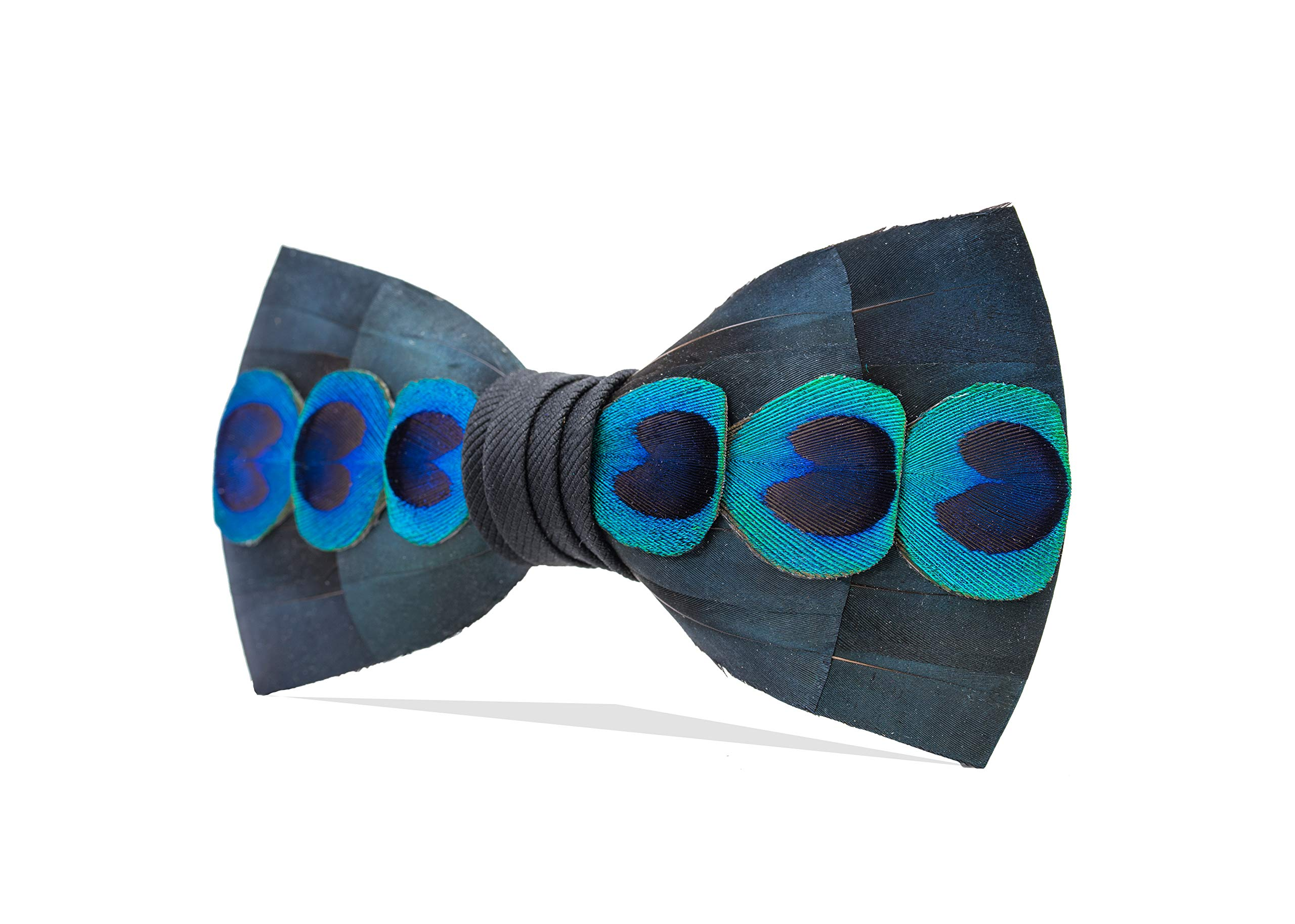 Brackish Men's Abalone Handcrafted Pheasant and Peacock Feather Bow Tie (275-BRK) by Brackish (Image #2)