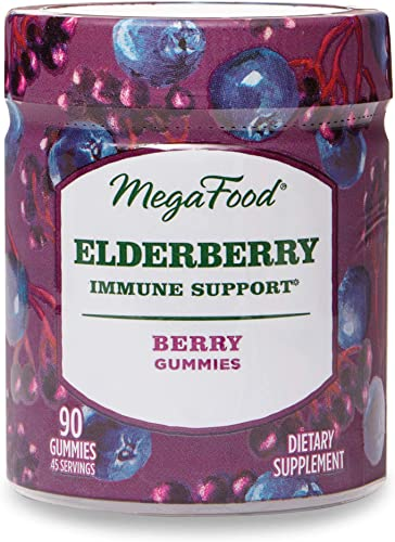 MegaFood, Elderberry Immune Support Gummies, Berry Soft Chew Supplement Vegan, 90 Gummies 45 Servings