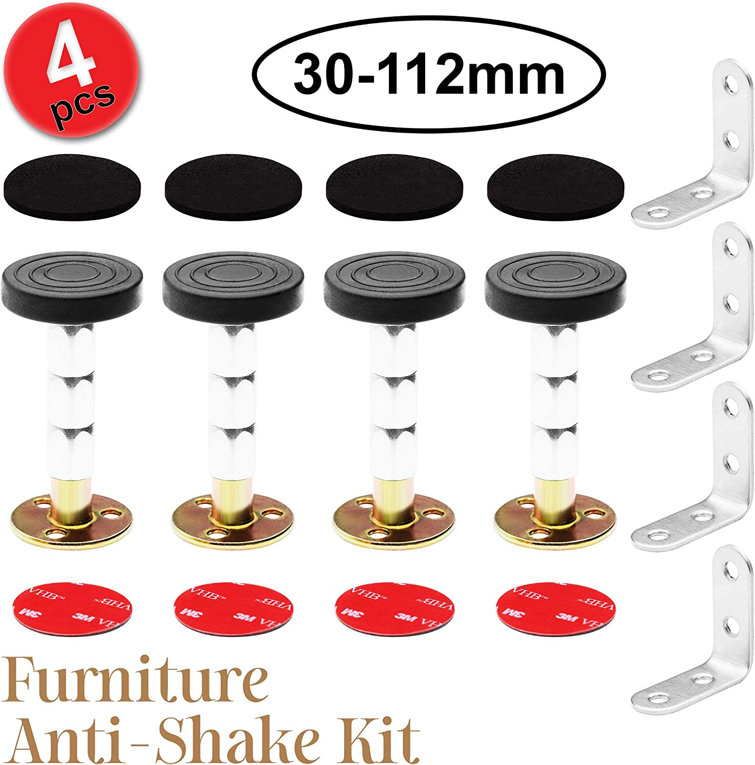 Headboard Stoppers Furniture Protectors Set-4(30-112mm) Adjustable Threaded Anti-Shake Tool 4 Self-Adhesive EVA Pads 4 Double Sided Self-Adhesive Dots 4 Corner Braces Support for Wall Furniture Bed