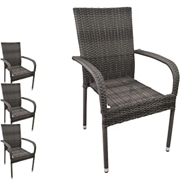 4 Pcs Poly Rattan Armchair Chair Garden Stacking Stackable