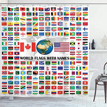 World Country Shower Curtain Flags with Names American USA Canada Flag Globe Earth Educational Traveler Geographic Home Design Bathroom Art Tourist Decor Digital Print Polyester Fabric Blue Yellow