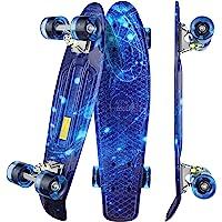 WeSkate Mini Cruiser - Monopatín completo retro de 55 cm, tabla de skate vintage con borde de plástico cruiser tabla con…