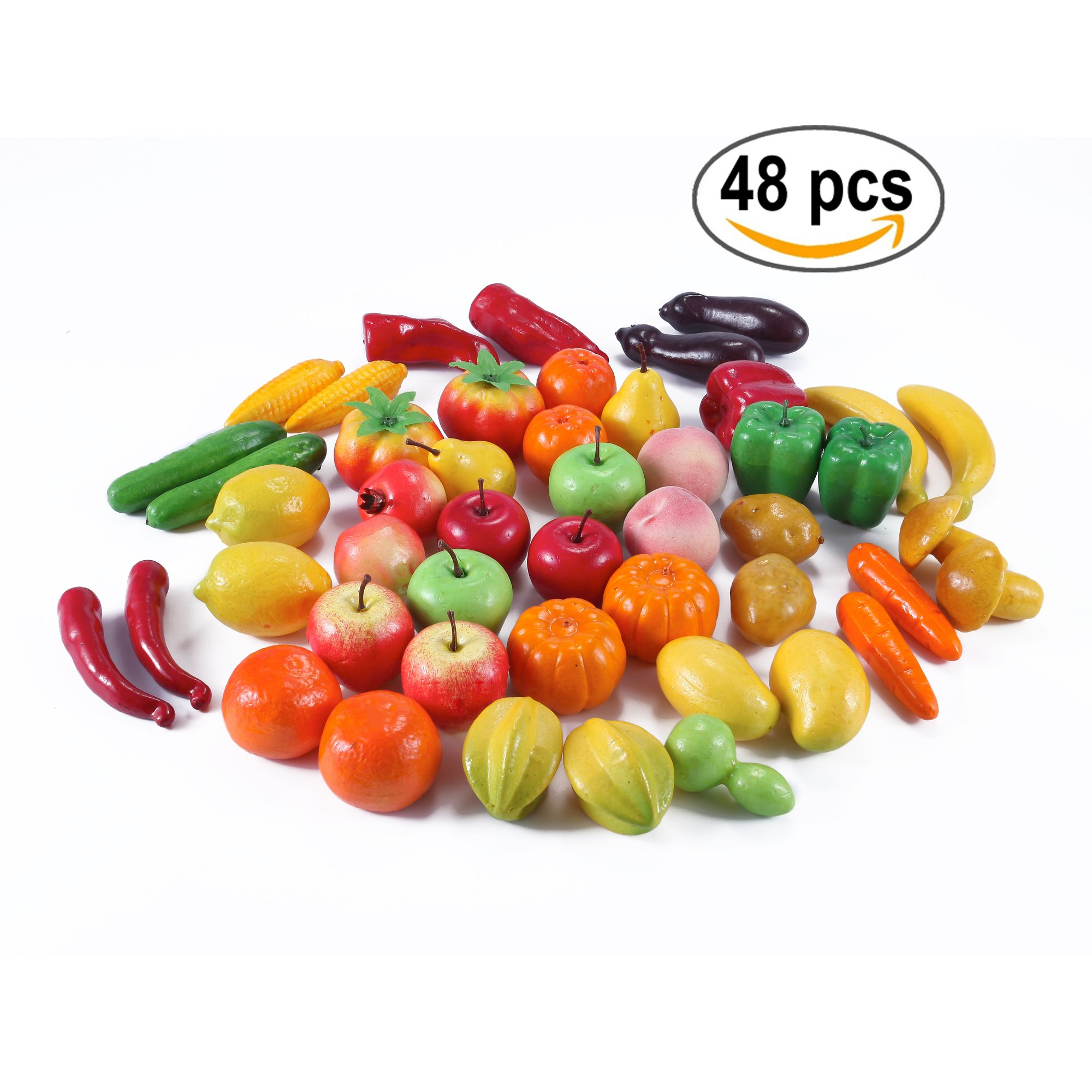 Lifelike Artificial Fruits (Assorted) 48pcs - Apple, Pumpkins, Mushrooms, Corns, Peppers, Peaches, Potatoes, Carrots, Potatoes and more!