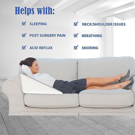 Acid Reflux GERD Reliever Elevate Sleep Back Bed Pillow Wedge Pain...