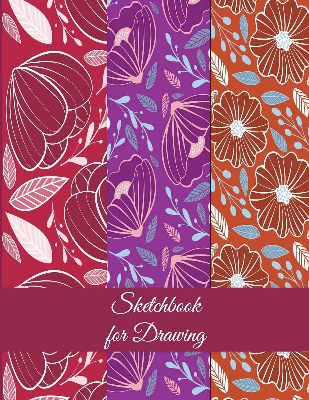 "Read Online Sketchbook for Drawing: Red Color Floral Design, Blank Paper For Drawing And Sketching 120 Pages Large Size 8.5"" x 11"" Artist Sketchbook for Sketching, Journaling, Drawing and Creative Doodling ebook"