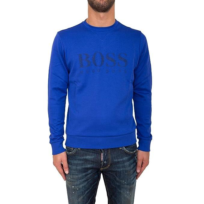 BOSS Hugo Green Salbo Sudadera para Hombre, Abierto Azul Logo Jersey Azul Azul: Amazon.es: Ropa y accesorios